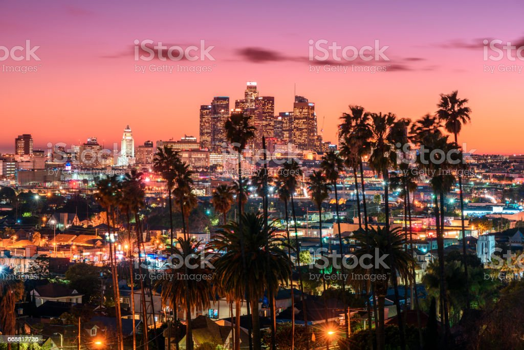 Sunset of Los Angeles stock photo