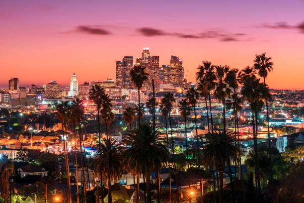 Sunset of Los Angeles Beautiful sunset of Los Angeles downtown skyline and palm trees in foreground hollywood california stock pictures, royalty-free photos & images