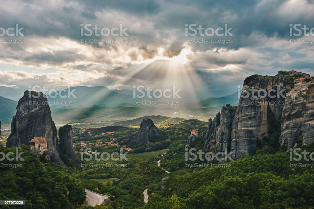 Sunset of Meteora, Greece - Meteora Rocks landscape royalty-free stock photo