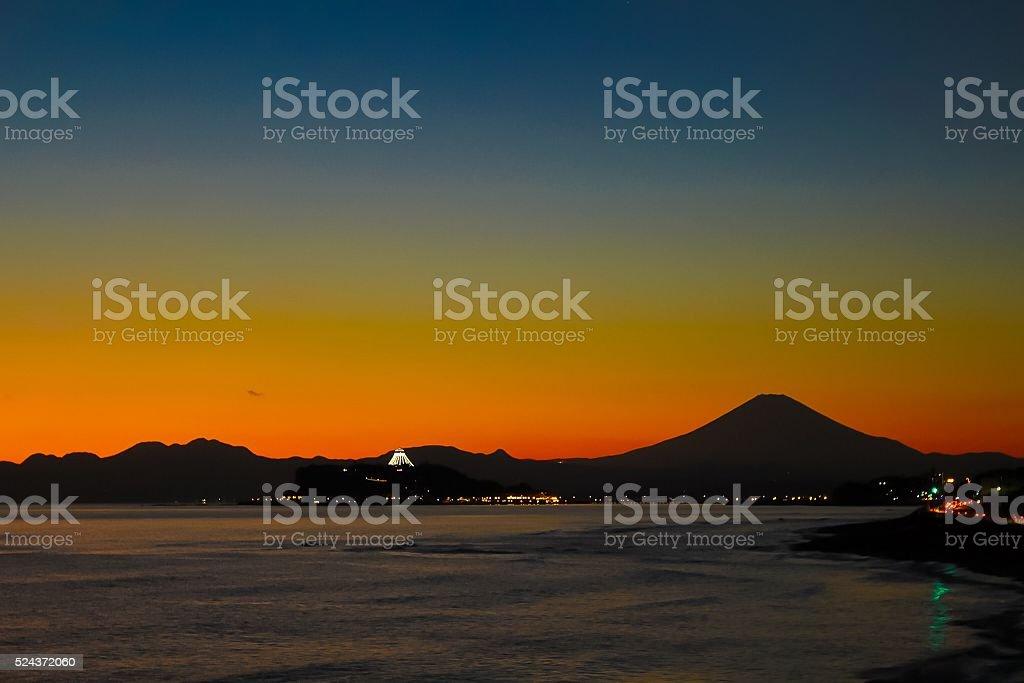 Sunset of Mount Fuji and Enoshima stock photo