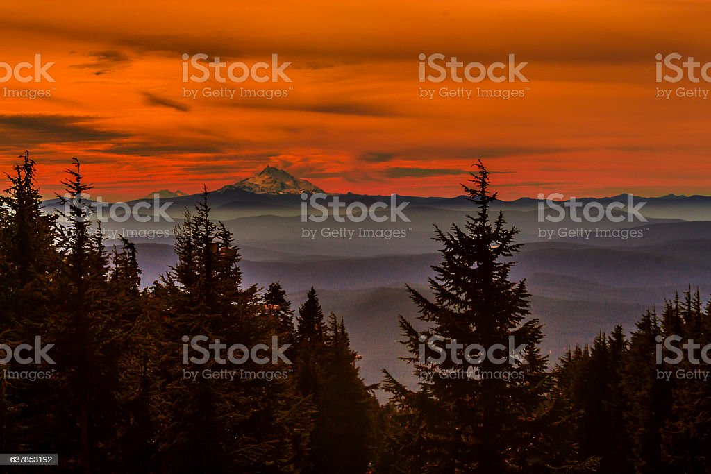 Sunset of Mount Jefferson and South Sisters stock photo