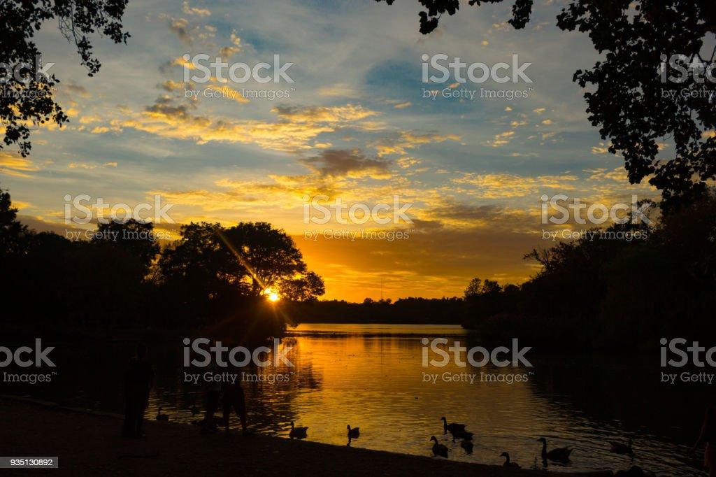 Sunset of Prospect Park stock photo