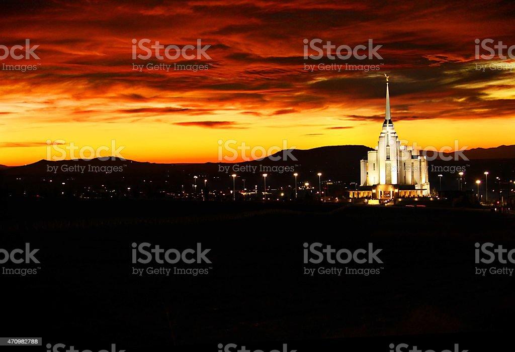 Sunset of Rexburg, Idaho LDS temple stock photo