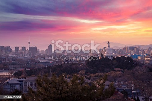 istock Sunset of The Forbidden City in Beijing, China 1300605333