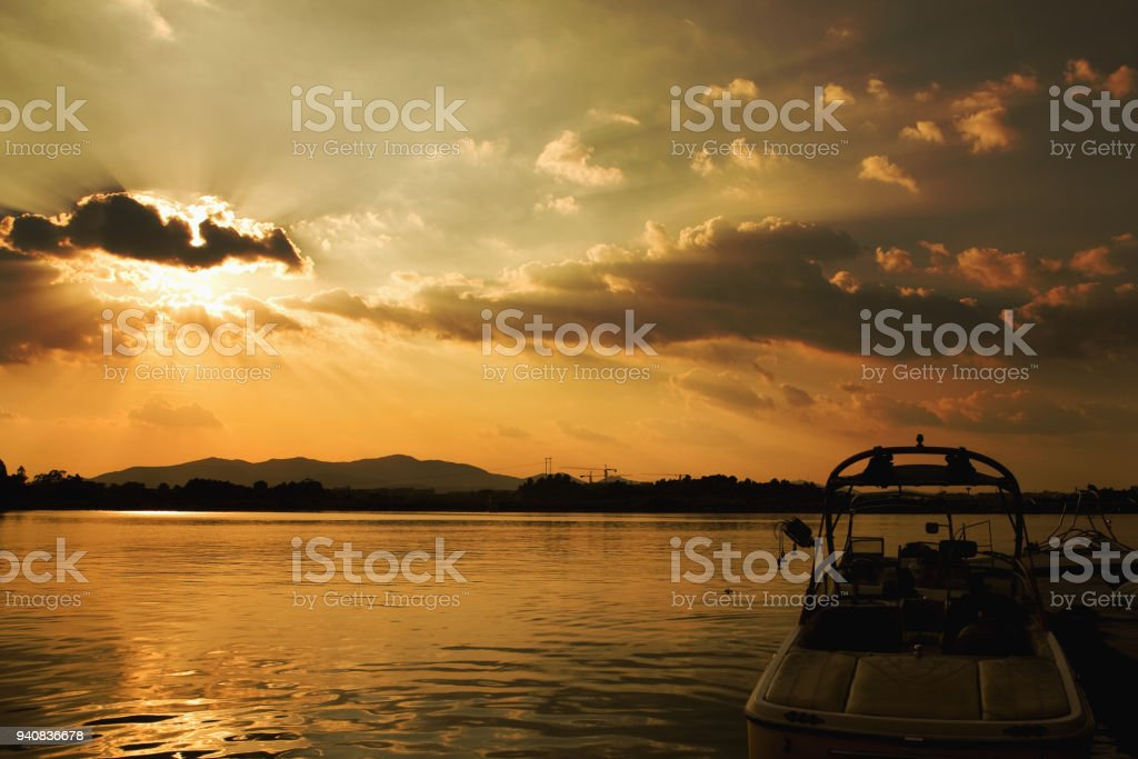Sunset of the SongShan Lake in the Summer stock photo