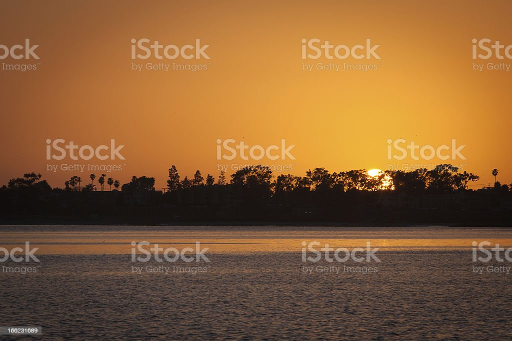 Sunset of Water and Trees royalty-free stock photo