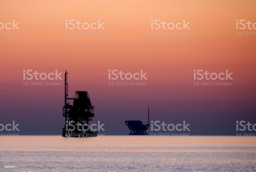 sunset offshore platform. royalty-free stock photo