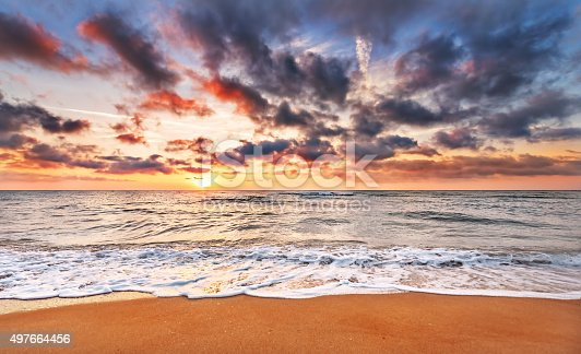 istock Sunset on a background a sea. 497664456