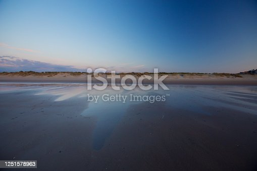 Sunset on a beach in Belgium, Knokke.