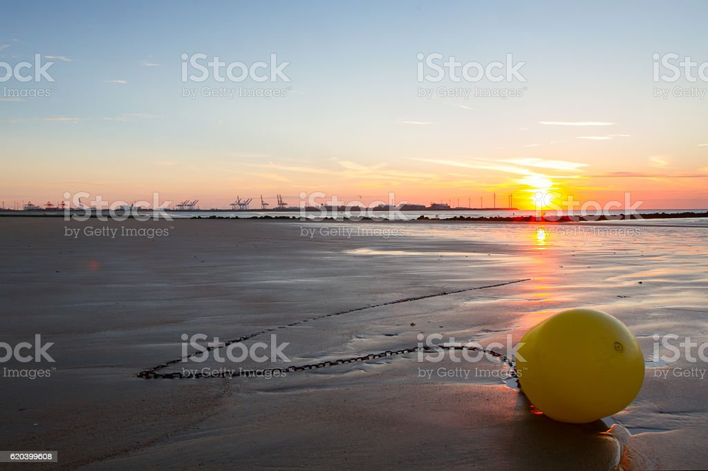 Sunset on a beach in Belgium, Knokke.​​​ foto