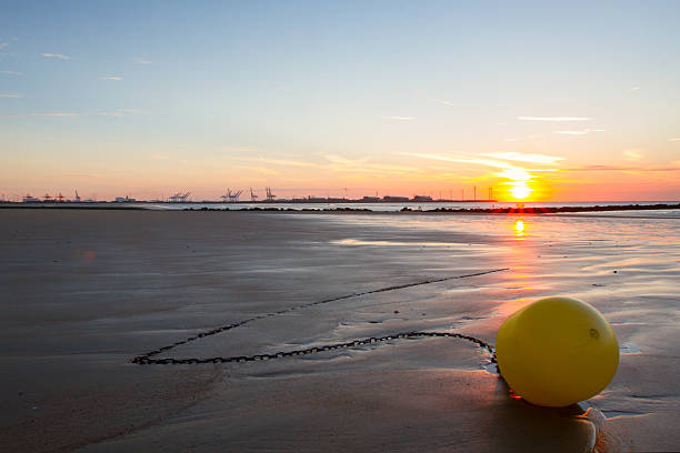Sunset on a beach in Belgium, Knokke. - foto stock