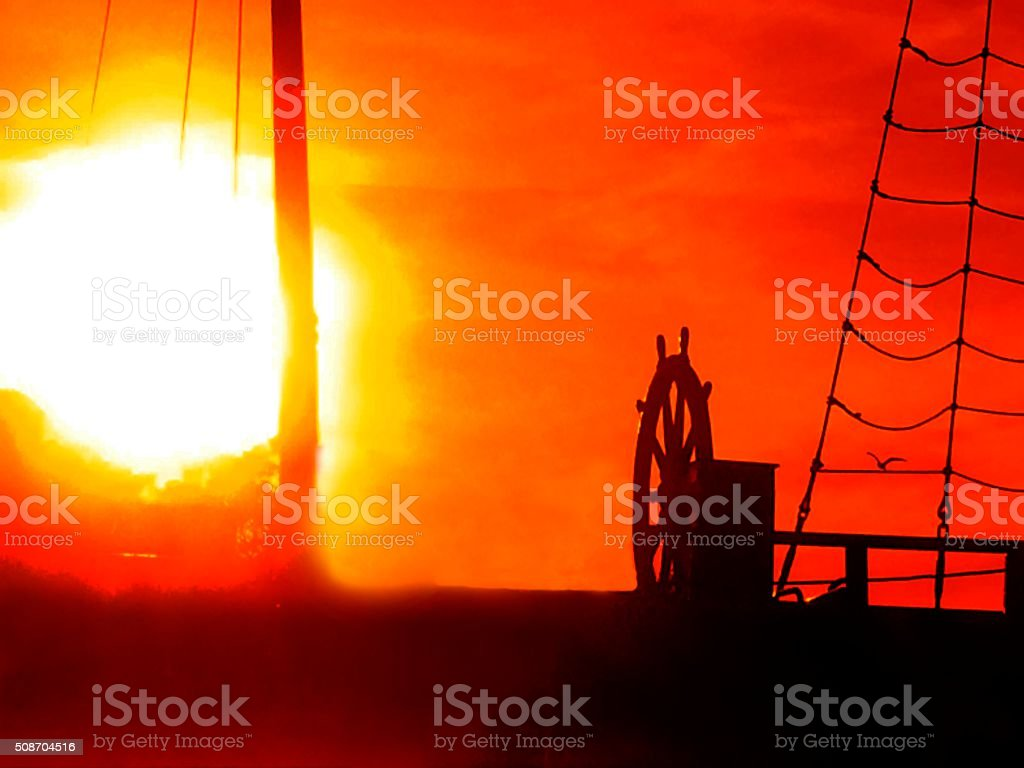 Sunset on a boat stock photo