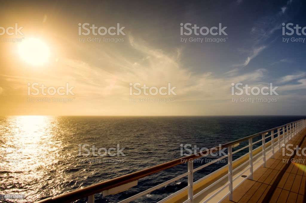 Sunset on a Cruise Ship stock photo