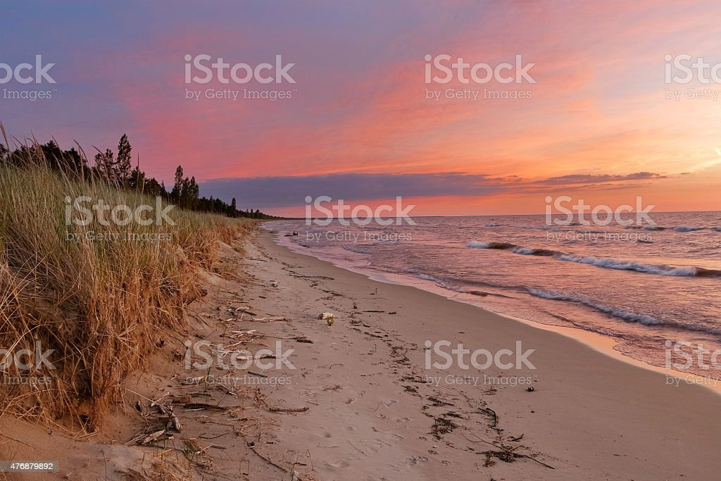 Sunset on a Lake Huron Beach stock photo