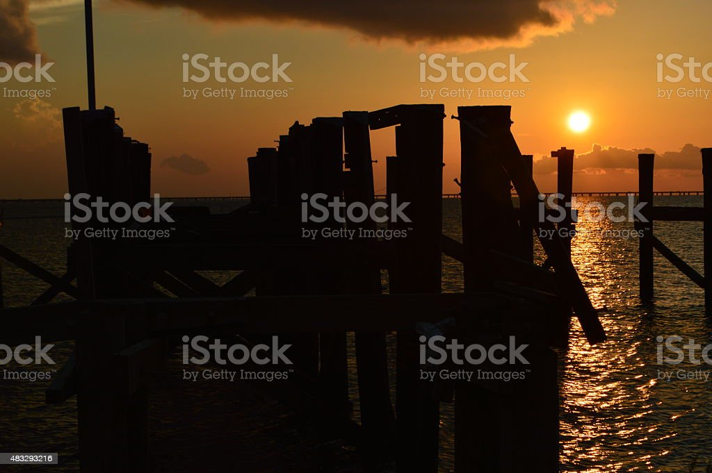 Sunset on a Lake in New Orleans,  Louisiana stock photo