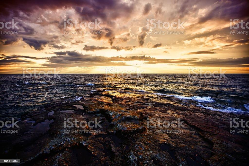 Sunset on a Northern Lake stock photo