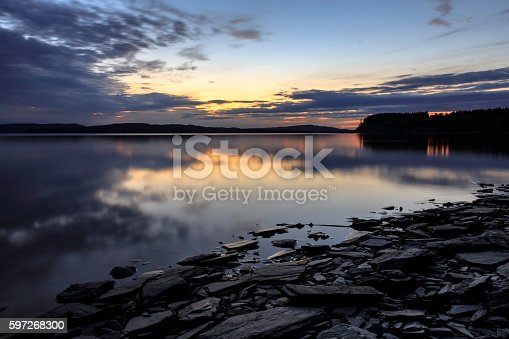Sunset On A Schist Beach In Sweden Stock Photo & More Pictures of Blue