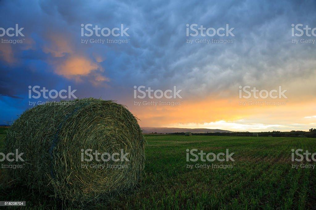 Sunset On A Teton Valley Farm stock photo