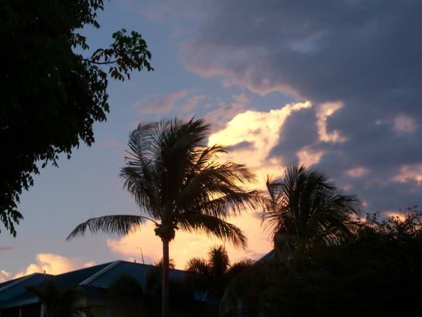 Sunset on a thundercloud in Florida stock photo