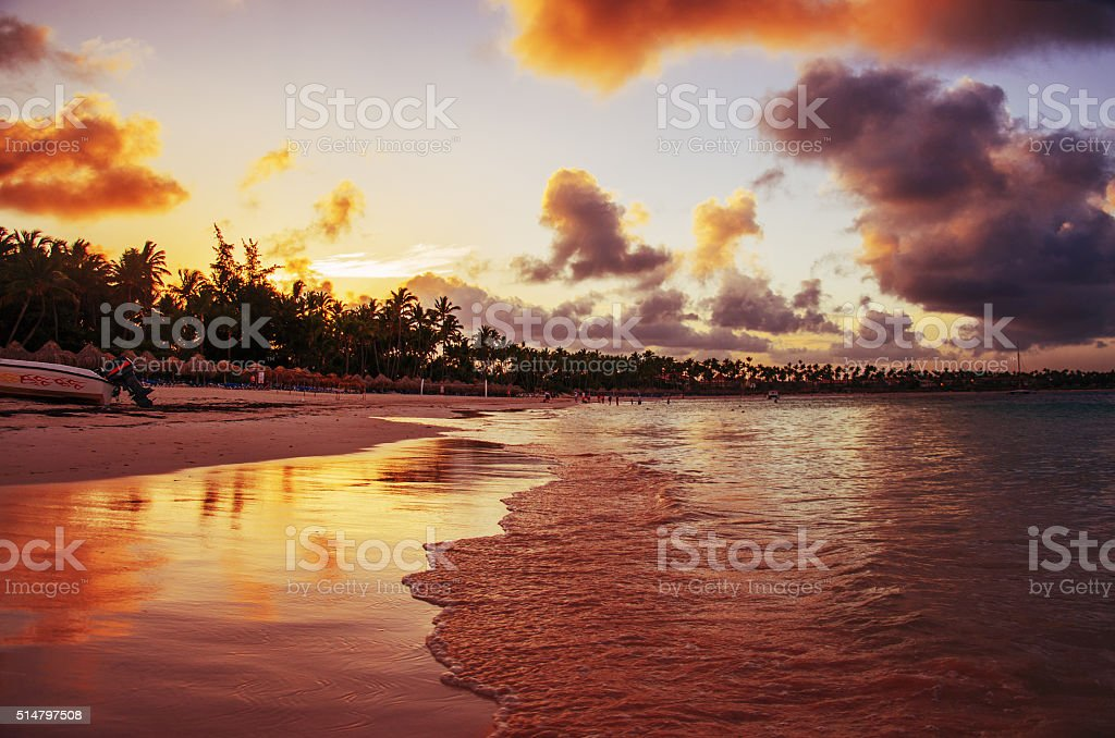Sunset on a tropical island, Dominican Republic stock photo