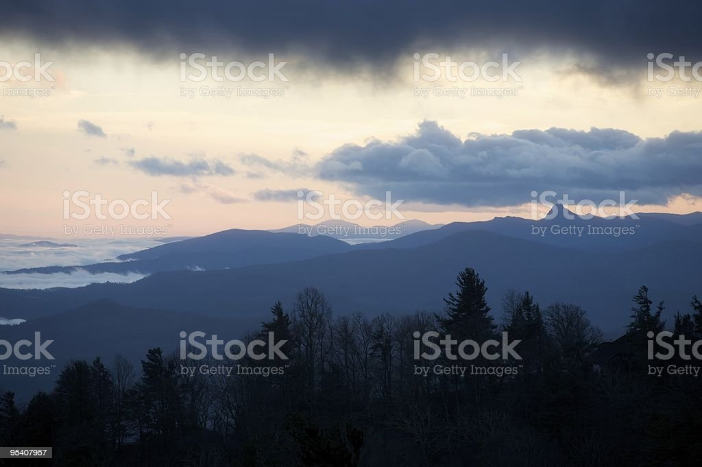 Sunset on a winter evening in the Blue Ridge Mountains royalty-free stock photo