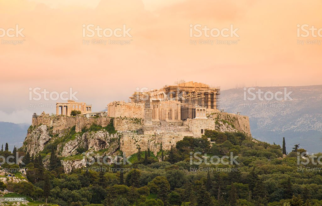 sunset on Acropolis hill with Parthenon stock photo