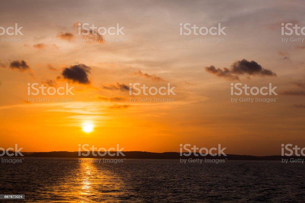 Sunset on Amazon river stock photo
