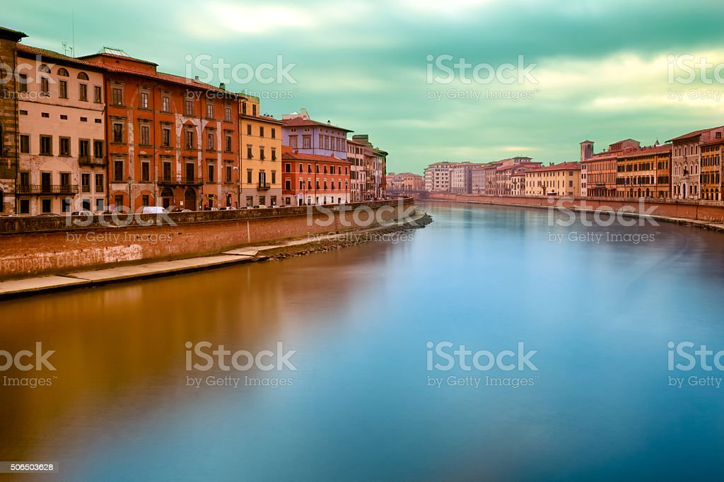 Sunset On Arno River Pisa Italy stock photo