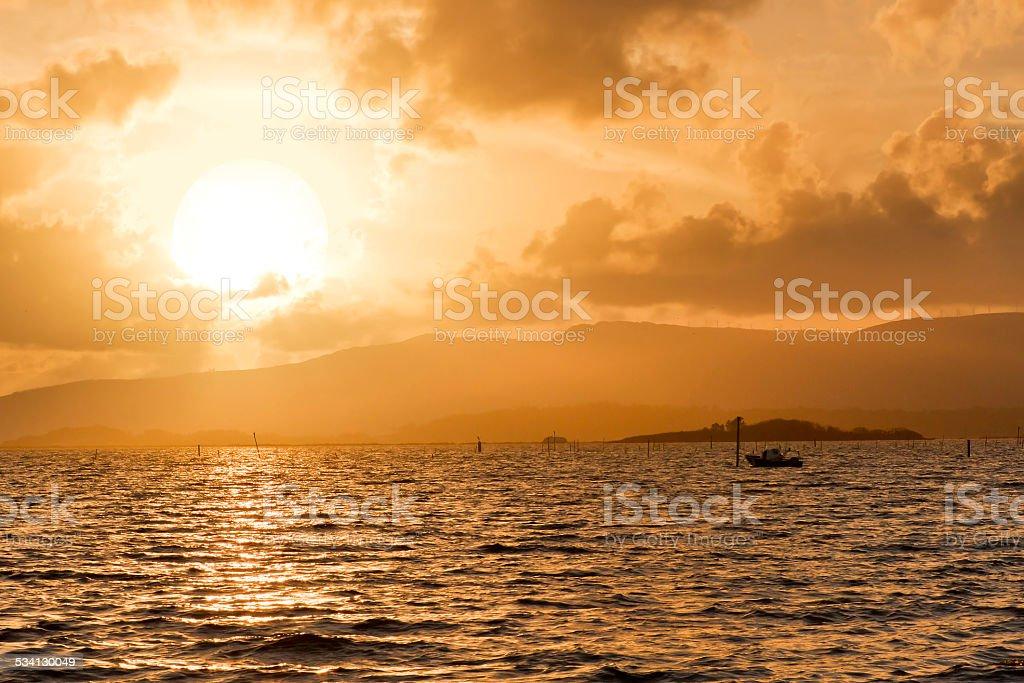 Sunset on Arousa Estuary royalty-free stock photo