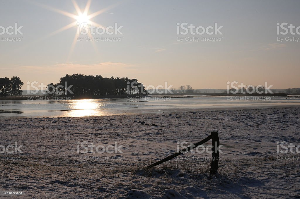 sunset on at Havel river (Germany)  winter landscape stock photo