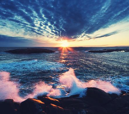 Low level drone view of sunset on the Atlantic coast of Nova Scotia.
