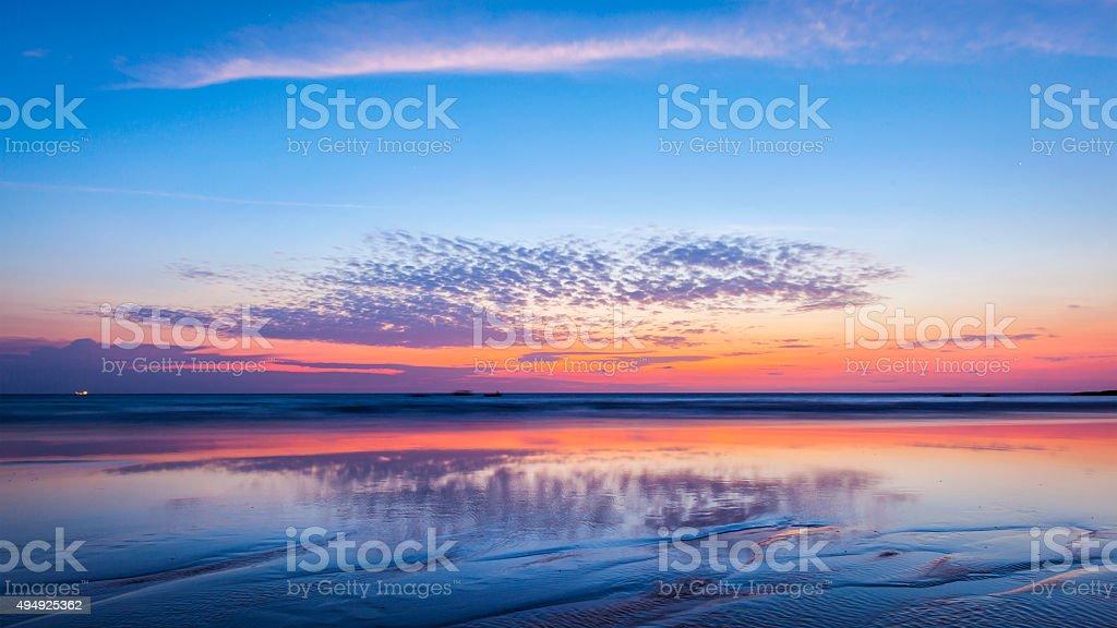 Sunset on beach. Goa stock photo