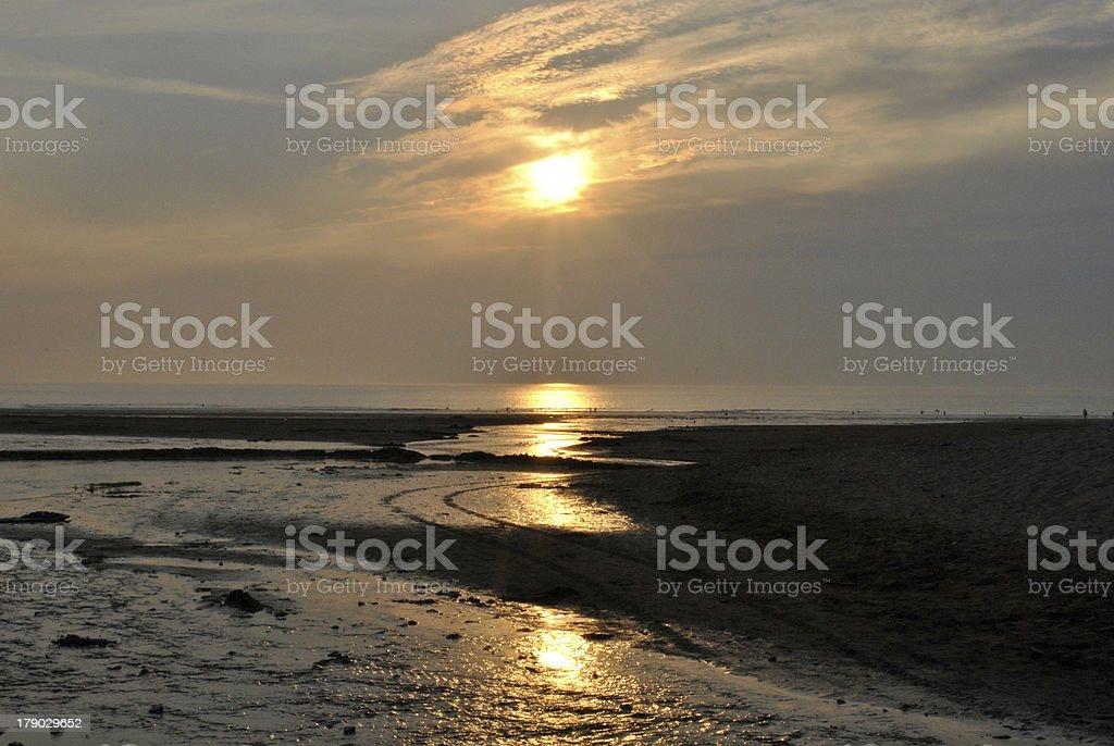 Sunset on beach in Croyde England stock photo