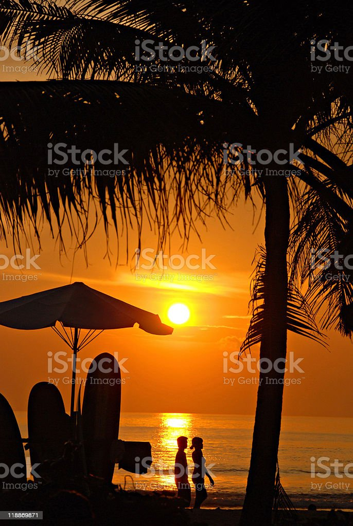 Sunset on beach, Kuta, Bali royalty-free stock photo