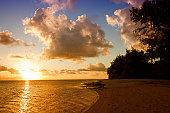 Sunset on Beach of a Tropical Island - Rarotonga, Cook Islands, Polynesia