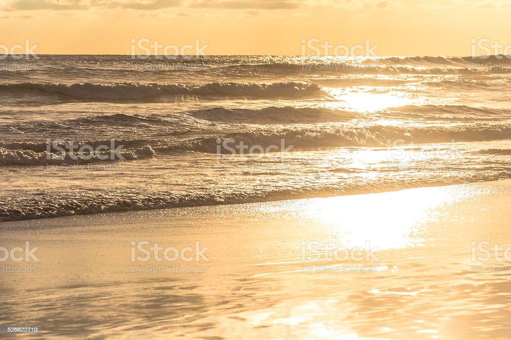 Sunset on beach of Yogyakarta stock photo