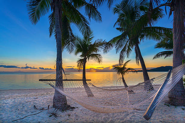 sunset on beach - fiji stock photos and pictures