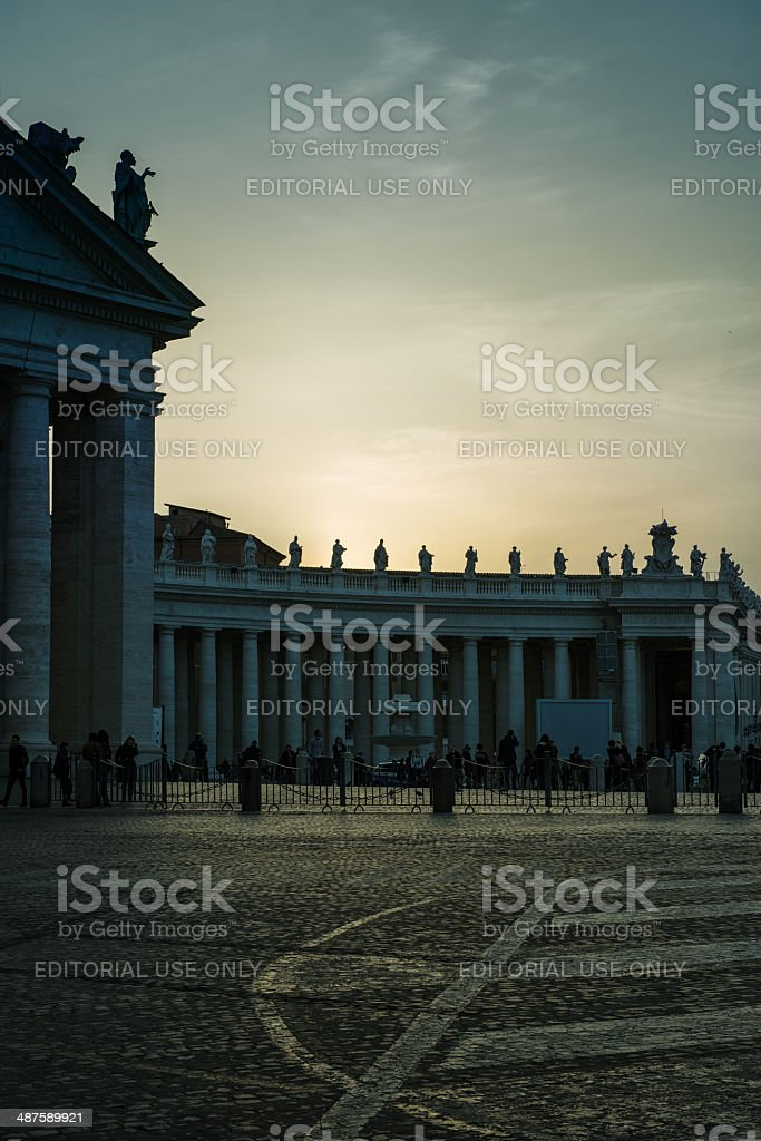 Sunset on Bernini's colonnade royalty-free stock photo