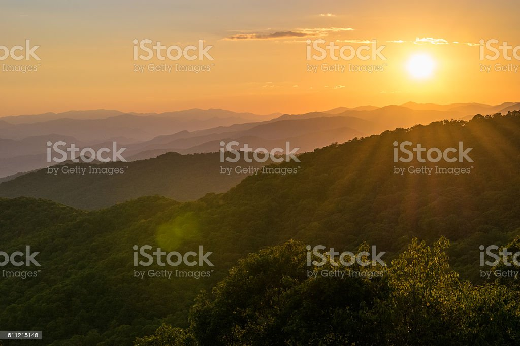 Sunset on Blue Ridge Parkway stock photo