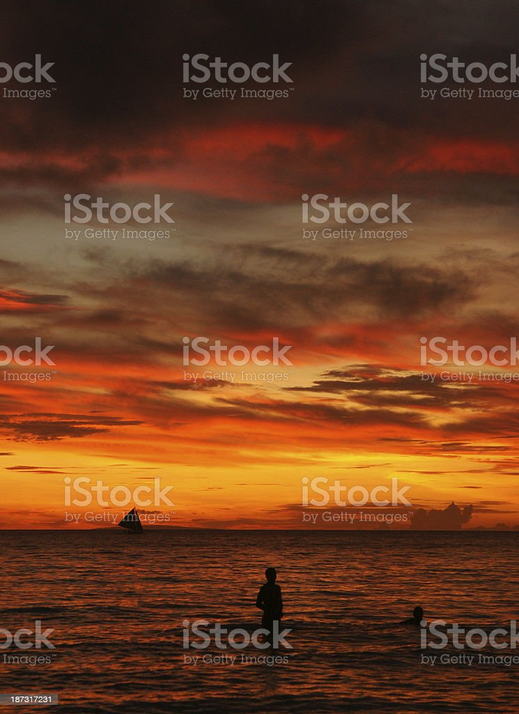 Sunset on Boracay Island, Philippines royalty-free stock photo