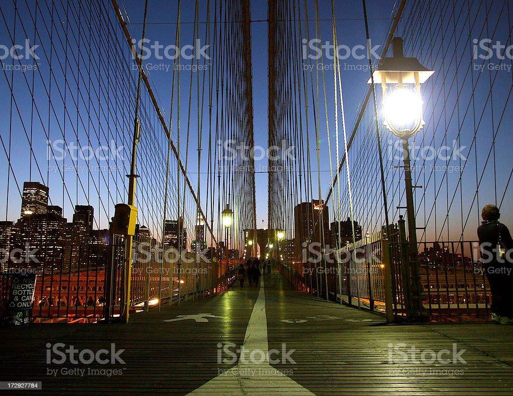 Sunset on Brooklyn Bridge royalty-free stock photo