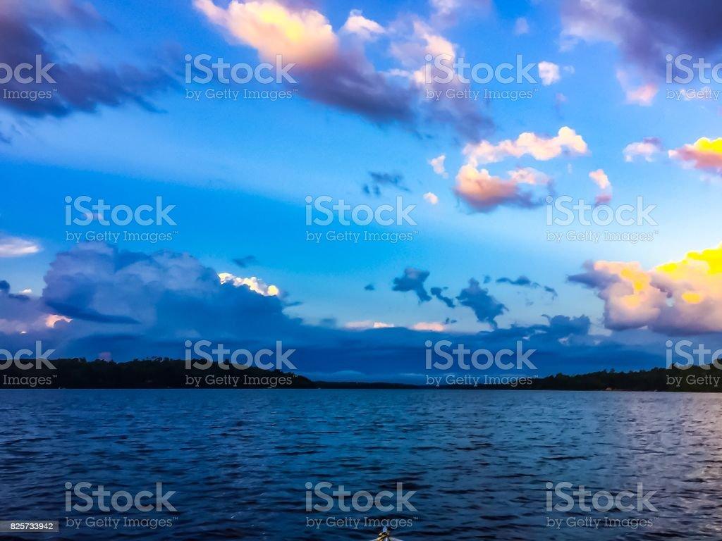 Sunset on BWCA stock photo