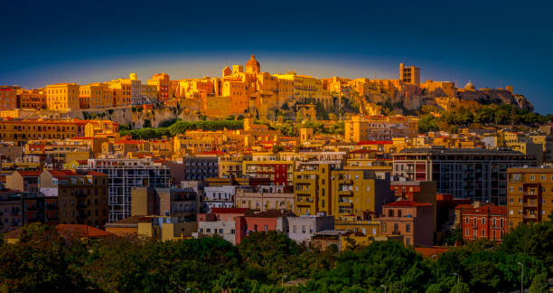 Sunset on Cagliari, panorama of the old city, Sardinia Island, Italy stock photo