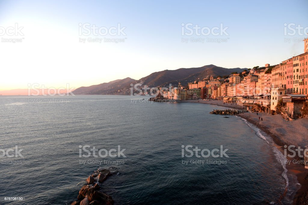 Sunset on Camogli royalty-free stock photo