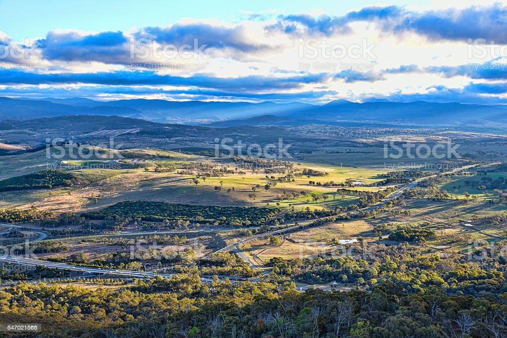 Sunset on Canberra, arboretum, nature parks, autumn, Brindabella hills stock photo