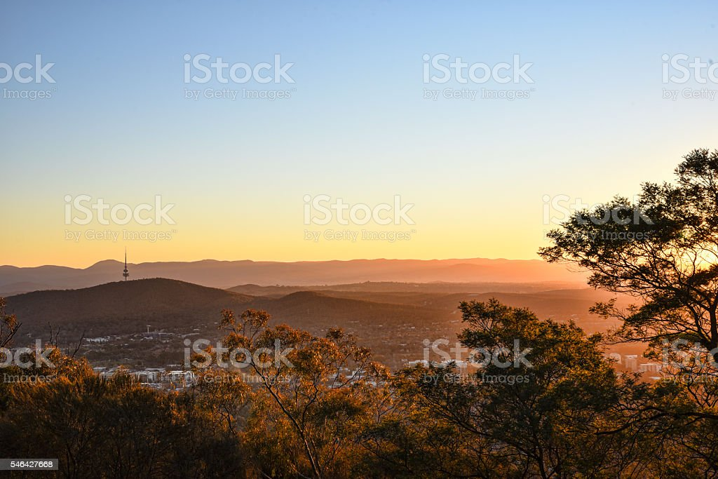 Sunset on Canberra City, autumn, Brindabella hills stock photo
