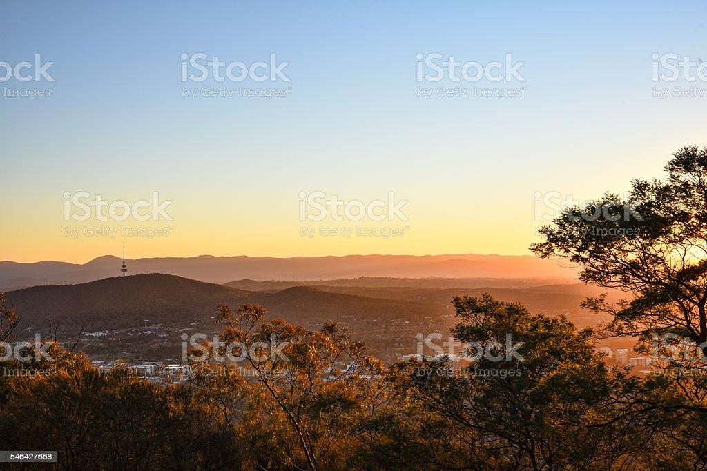 Sunset on Canberra City, autumn, Brindabella hills stock photo