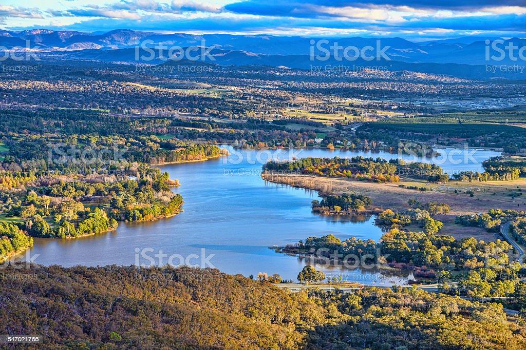 Sunset on Canberra, lake, nature parks, autumn, Brindabella hills stock photo