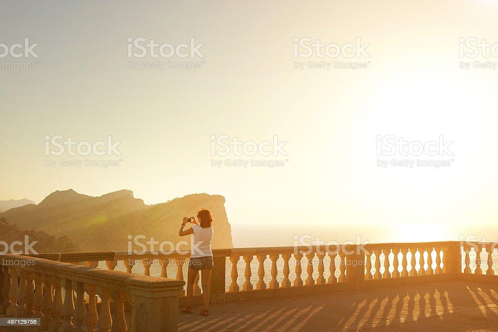 Sunset on Cap Formentor stock photo
