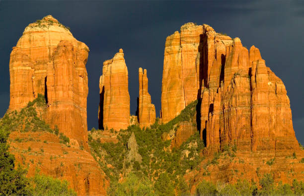 Sunset on Cathedral Rock, Sedona, Arizona stock photo
